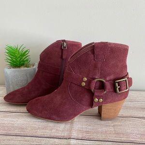 HINGE Billy Dark Red Suede Booties Heeled Boots